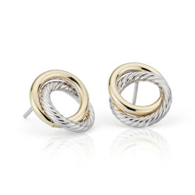 NEW Two-Tone Love Knot Rope Earrings in 14k White and Yellow Gold