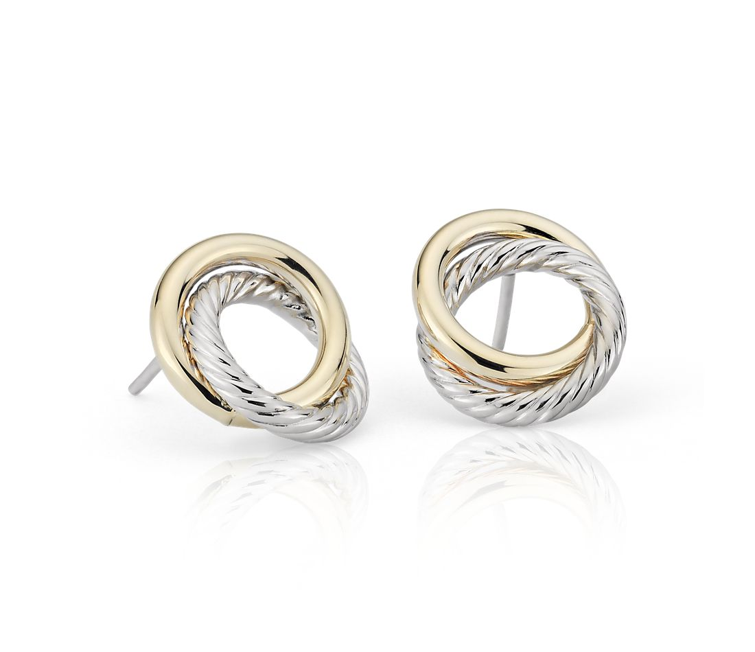 Two Tone Love Knot Rope Earrings In 14k Italian White And Yellow Gold
