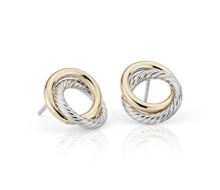 14k 義大利白金和黃金 雙色調愛之結繩索耳環