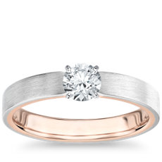 Matte Two-Tone Solitaire Diamond Engagement Ring in 14k White and Rose Gold (3mm)