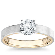 Matte Two-Tone Solitaire Diamond Engagement Ring in 14k White and Yellow Gold (3mm)