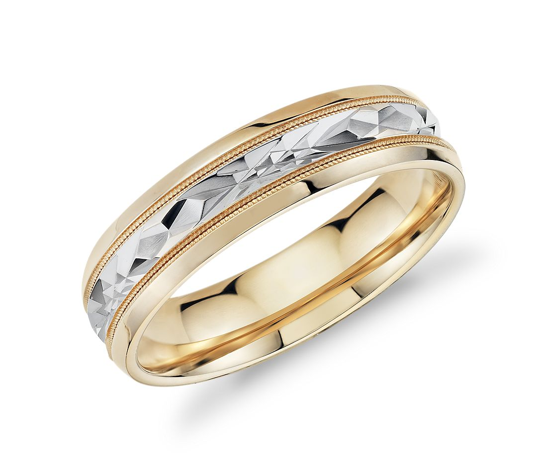 Two-Tone Milgrain Diamond Cut Wedding Band in 14k Yellow Gold (6mm)