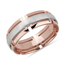 Two-Tone Modern Link Edge Wedding Ring in 14k White and Rose Gold (7mm)