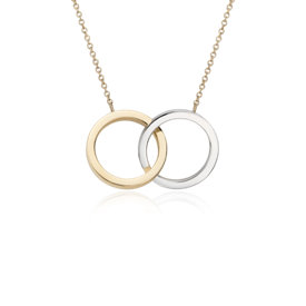 Two-Tone Forever Together Necklace in 14k White and Yellow Gold