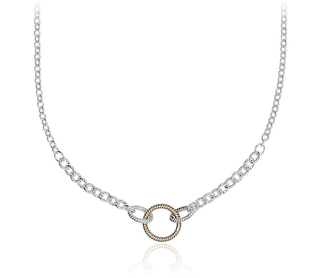 Textured Link Two-Tone Necklace in Sterling Silver and Yellow Gold Vermeil