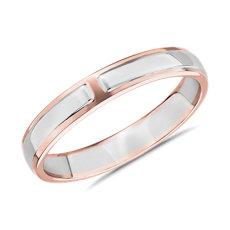 新款 18K 白金和玫瑰金双色中空男士戒指