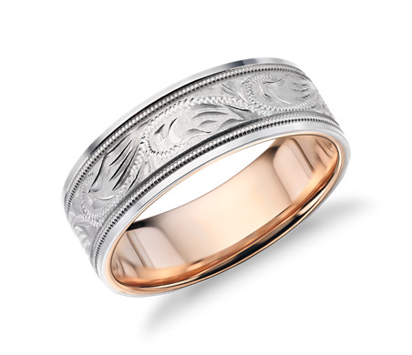 Two-Tone Paisley Wedding Ring in Platinum and 18k Rose Gold (7mm)
