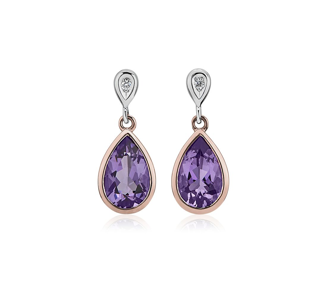 Two-Tone Pear-Shaped Amethyst and Diamond Drop Earrings in 14k Rose and White Gold (11x7mm)