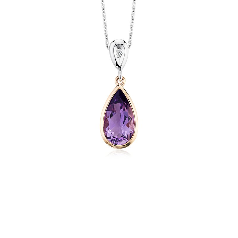 Two-Tone Pear-Shaped Amethyst and Diamond Pendant in 14k Rose and