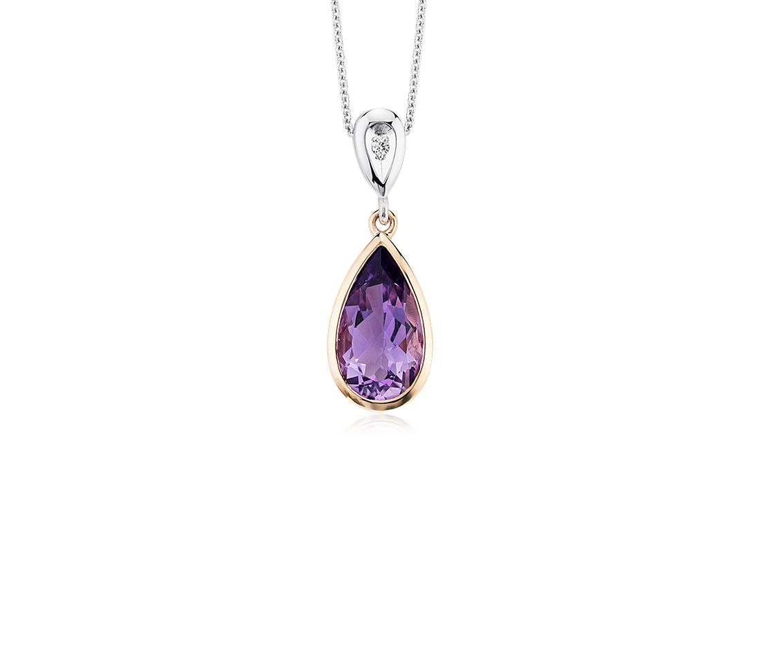 Two-Tone Pear-Shaped Amethyst and Diamond Pendant in 14k Rose and White Gold (16x9mm)