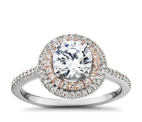 Two-Tone Petite Double Halo Engagement Ring in 14k White and Rose Gold (2/5 ct. tw.)