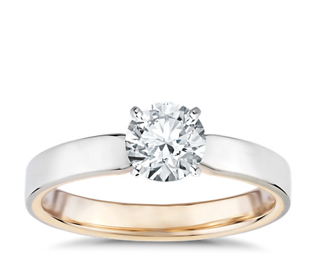 Polish Two-Tone Solitaire Diamond Engagement Ring in 14k White and Rose Gold (3mm)