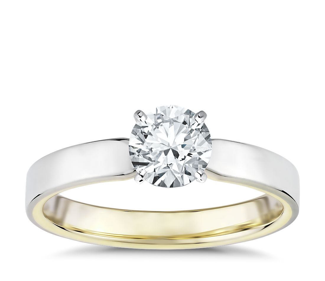 Polish Two-Tone Solitaire Diamond Engagement Ring in 14k White and Yellow Gold (3mm)