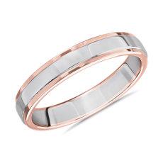 新款  18k 白金和 玫瑰金 双色抛光男士戒指