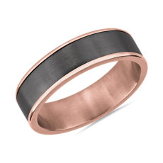 Two-Tone Tantalum Inlay Wedding Ring in 14k Rose Gold (6.5mm)