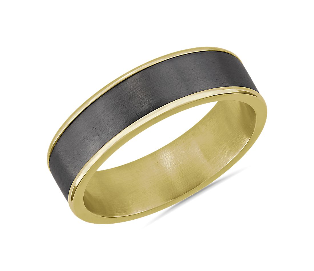Two-Tone Tantalum Inlay Wedding Ring in 14k Yellow Gold (6.5mm)