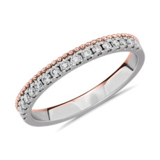 18K 白金和玫瑰金双色侧珠密钉钻石女士戒指
