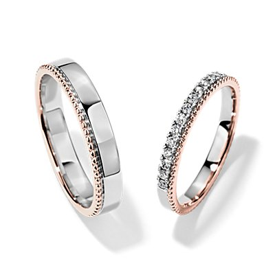 18K 白金和玫瑰金双色侧珠镶钻