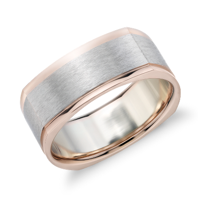 Matte TwoTone Eurofit Wedding Ring in 14k White and Rose Gold 8mm