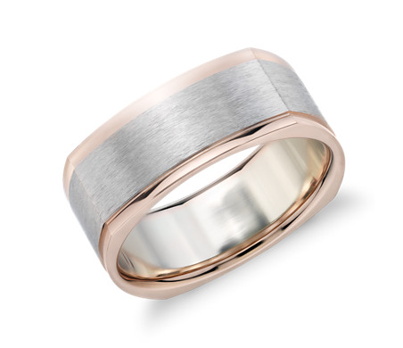 Matte Two Tone Eurofit Wedding Ring In 14k White And Rose Gold 8mm