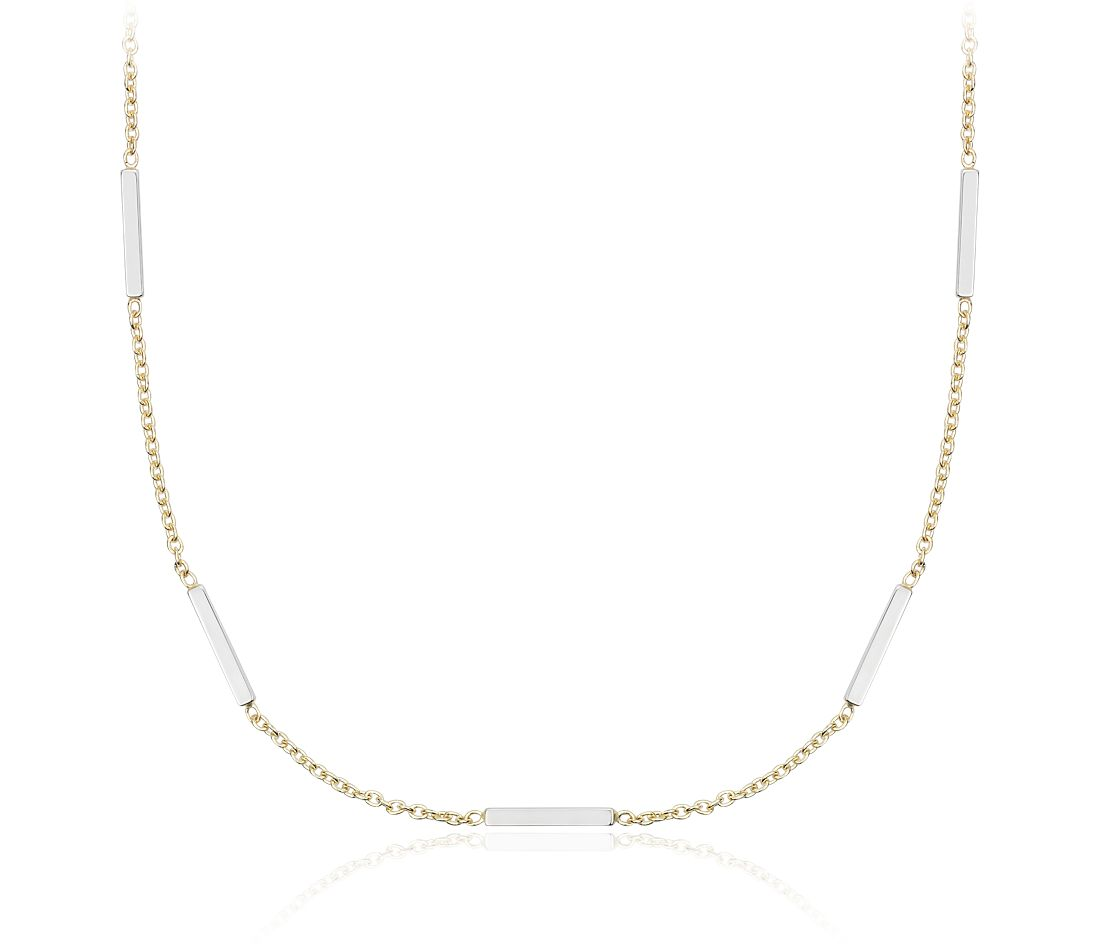 Two-Tone Station Bar Necklace in 14k Yellow and White Gold