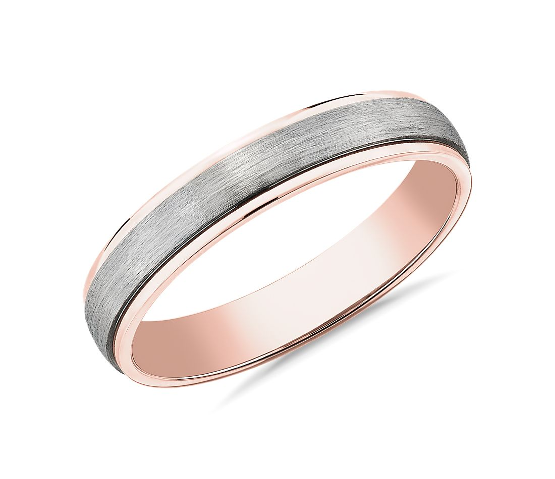 Two-Tone Step Edge Brushed Wedding Ring in Platinum and 14k Rose Gold (4mm)