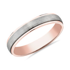 NEW Two-Tone Step Edge Brushed Wedding Ring in Platinum and 14k Rose Gold (4mm)