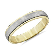 NEW Two-Tone Step Edge Brushed Wedding Ring in Platinum and 14k Yellow Gold (4mm)