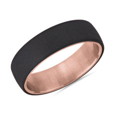 Two-Tone Stone Finish Wedding Band in Tantalum and 14k Rose Gold (6.5mm)