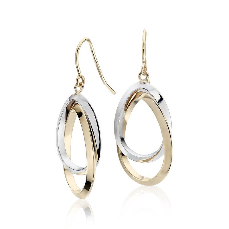 Two-Tone Interlocked Teardrop Dangle Earrings in 14k White and Ye