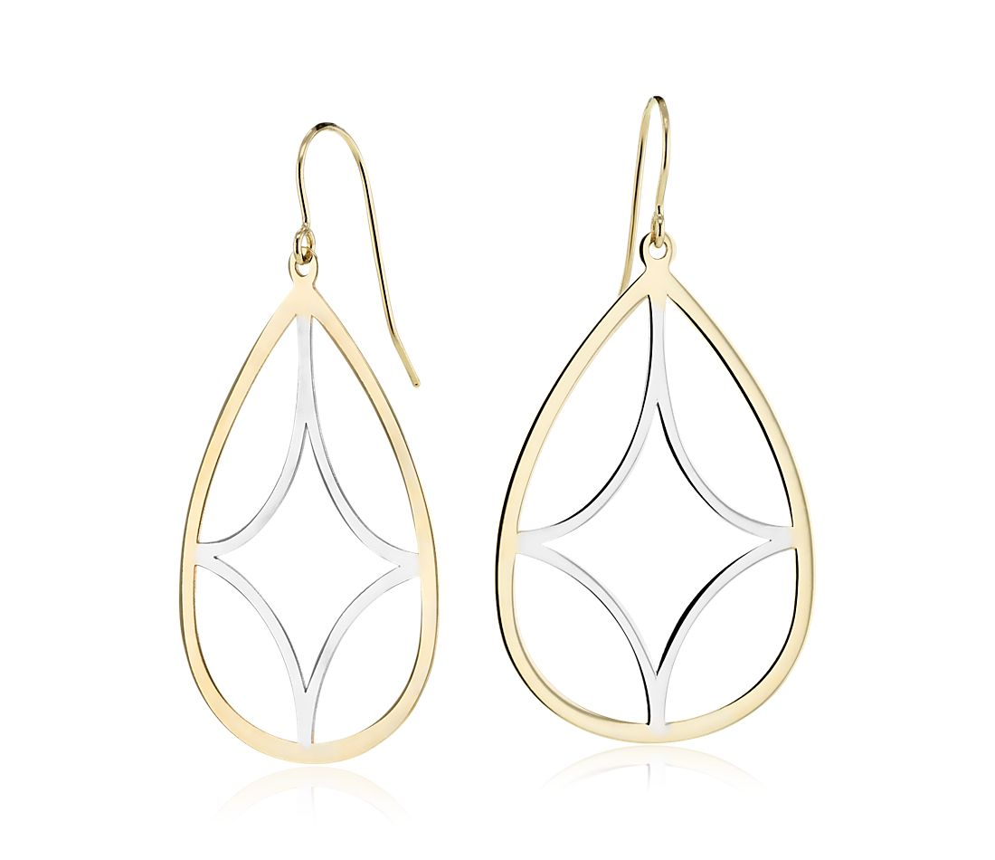 Two-Tone Teardrop Dangle Earrings in 14k Yellow Gold