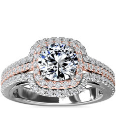 Two-Tone Three Row Cushion Halo Diamond Engagement Ring in 14k White and Rose Gold (1/2 ct. tw.)