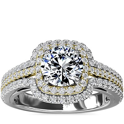 NEW Two-Tone Three Row Cushion Halo Diamond Engagement Ring in 14k White and Yellow Gold (1/2 ct. tw.)