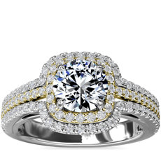 Two-Tone Three Row Cushion Halo Diamond Engagement Ring in 14k White and Yellow Gold (1/2 ct. tw.)