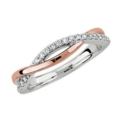 Two-Tone Twist Diamond Wedding Ring in 14k White and Rose Gold (1/6 ct. tw.)