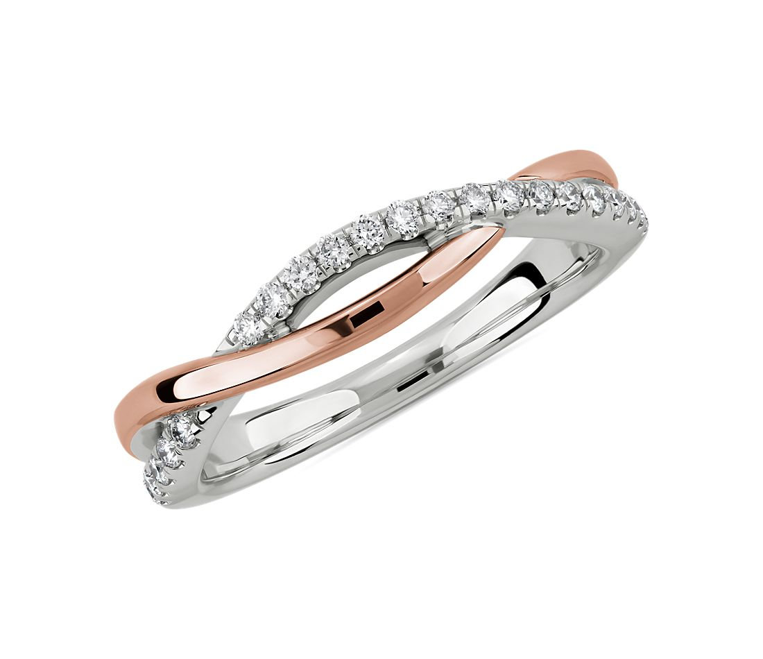 Two Tone Twist Diamond Wedding Ring In 14k White And Rose Gold 1 6 Ct Tw Blue Nile