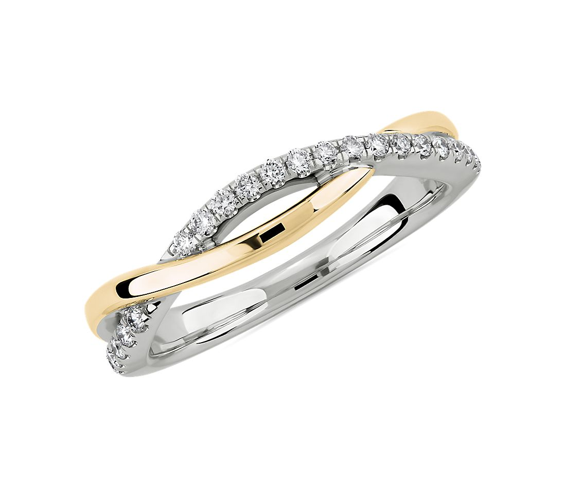 Two-Tone Twist Diamond Wedding Ring in 14k White and Yellow Gold (1/6 ct. tw.)