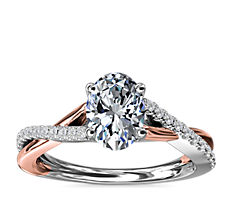 Two-Tone Twisted Diamond Engagement Ring in 14k White and Rose Gold (1/5 ct. tw.)