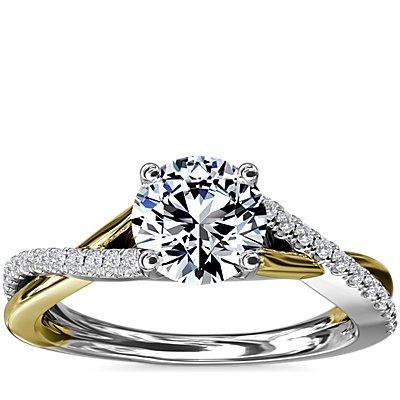 新款 14k 白金和黃金雙色調扭紋鑽石訂婚戒指 (1/5 克拉總重量)