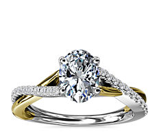 Two-Tone Twisted Diamond Engagement Ring in 14k White and Yellow Gold (1/5 ct. tw.)