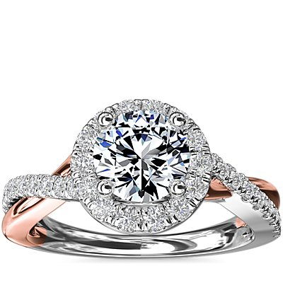 Two-Tone Twisted Halo Diamond Engagement Ring in 14k White and Rose Gold (3/8 ct. tw.)