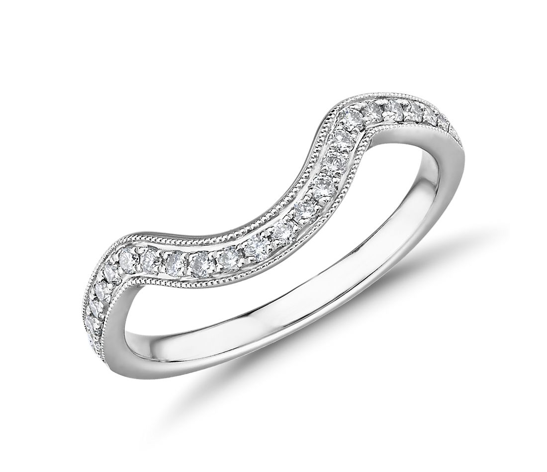 Truly Zac Posen Curved Milgrain Diamond Ring in 14k White Gold (0.15 ct. tw.)