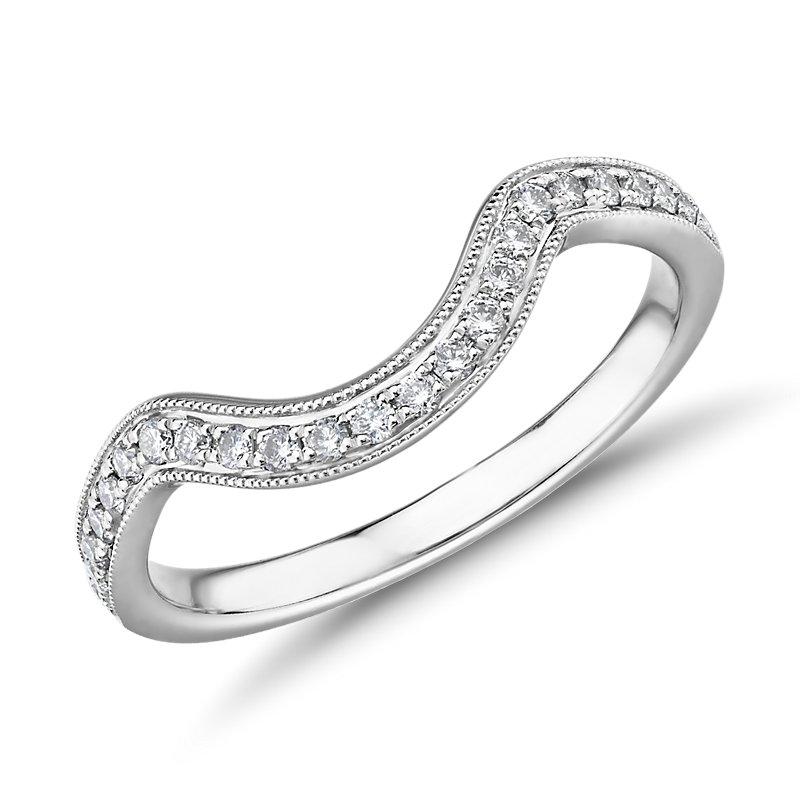 ZAC Zac Posen Curved Milgrain Diamond Ring in 14k White Gold (1/5