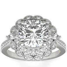 Anillo de compromiso con doble halo de diamantes talla marquesa ZAC de Zac Posen en oro blanco de 14 k