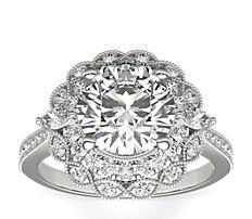Bague de fiançailles diamants taille marquise avec halo double ZAC Zac Posen en or blanc 14carats