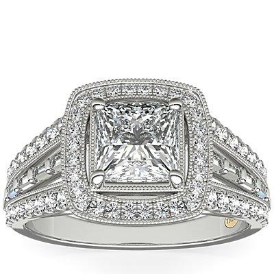 ZAC Zac Posen Milgrain Diamond Halo with Baguette Sidestones in 14k White Gold