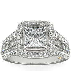 ZAC Zac Posen Milgrain Diamond Halo with Baguette Sidestones in 14k White Gold
