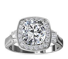 ZAC Zac Posen Square Halo Diamond Engagement Ring in 14k White Gold