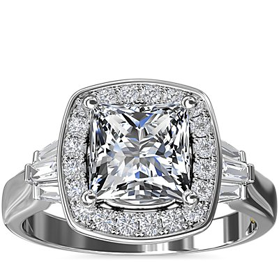 Bague de fiançailles halo de diamants en carré ZAC Zac Posen en or blanc 14 carats