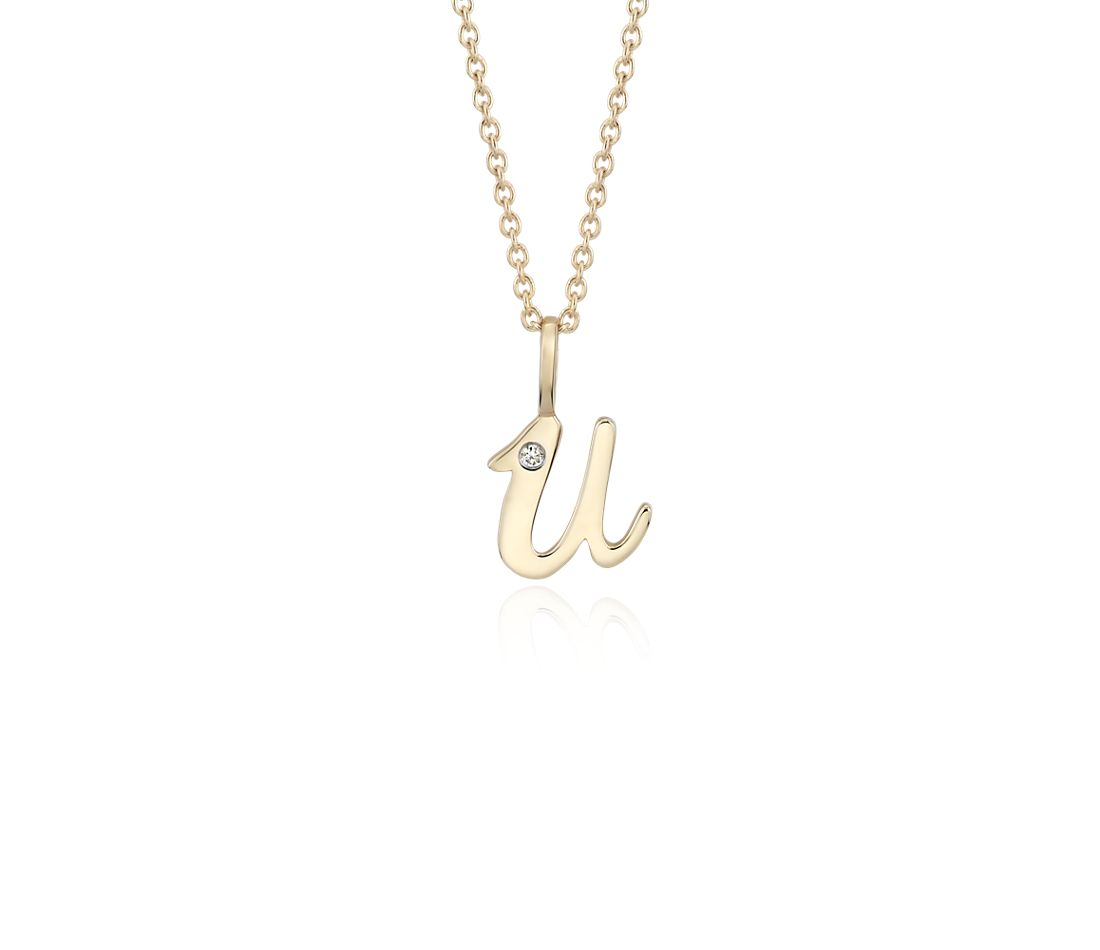 """U"" Mini Initial Pendant with Diamond Detail in 14 Yellow Gold"